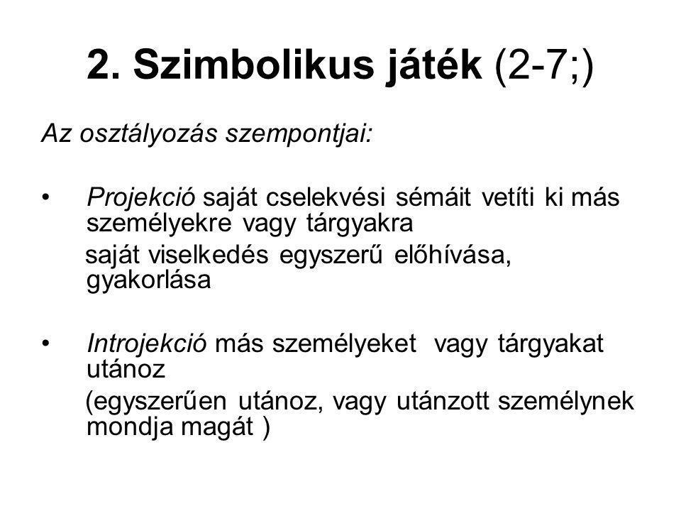 2. Szimbolikus játék (2-7;) Az osztályozás szempontjai: Projekció saját cselekvési sémáit vetíti ki más személyekre vagy tárgyakra saját viselkedés eg