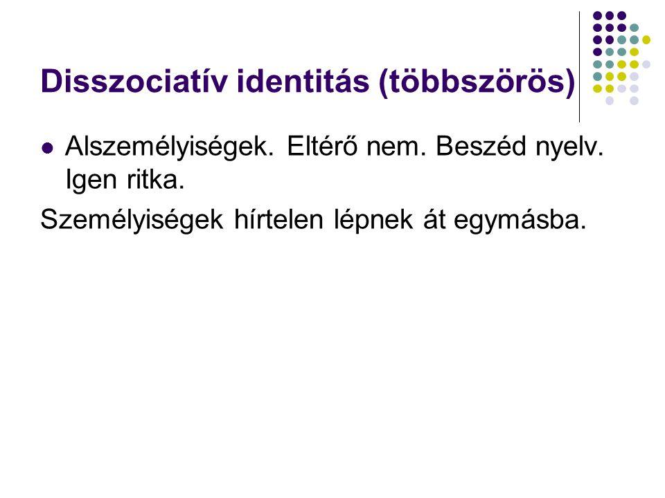 Disszociatív identitás (többszörös) Alszemélyiségek. Eltérő nem. Beszéd nyelv. Igen ritka. Személyiségek hírtelen lépnek át egymásba.
