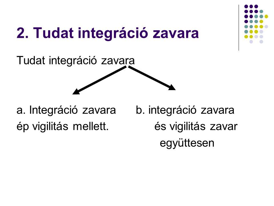 2. Tudat integráció zavara Tudat integráció zavara a. Integráció zavara b. integráció zavara ép vigilitás mellett. és vigilitás zavar együttesen
