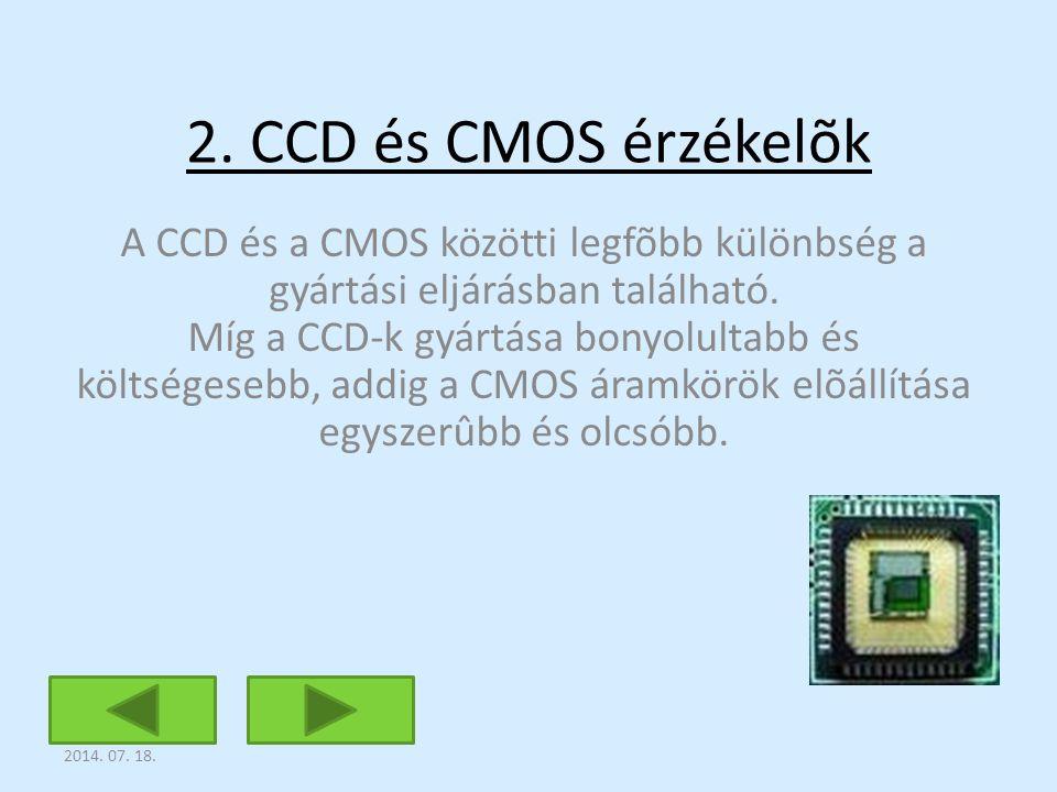 2. CCD és CMOS érzékelõk A CCD és a CMOS közötti legfõbb különbség a gyártási eljárásban található. Míg a CCD-k gyártása bonyolultabb és költségesebb,