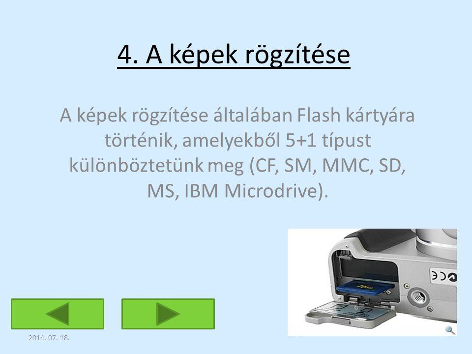 4. A képek rögzítése A képek rögzítése általában Flash kártyára történik, amelyekből 5+1 típust különböztetünk meg (CF, SM, MMC, SD, MS, IBM Microdriv