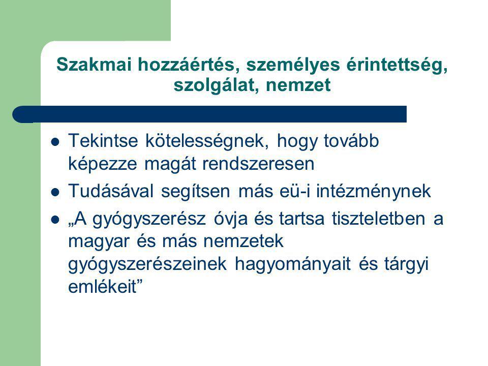 """Szakmai hozzáértés, személyes érintettség, szolgálat, nemzet Tekintse kötelességnek, hogy tovább képezze magát rendszeresen Tudásával segítsen más eü-i intézménynek """"A gyógyszerész óvja és tartsa tiszteletben a magyar és más nemzetek gyógyszerészeinek hagyományait és tárgyi emlékeit"""