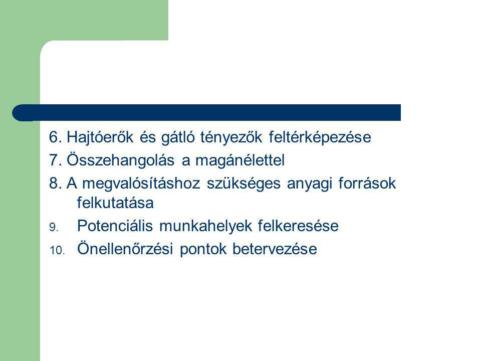6.Hajtóerők és gátló tényezők feltérképezése 7. Összehangolás a magánélettel 8.