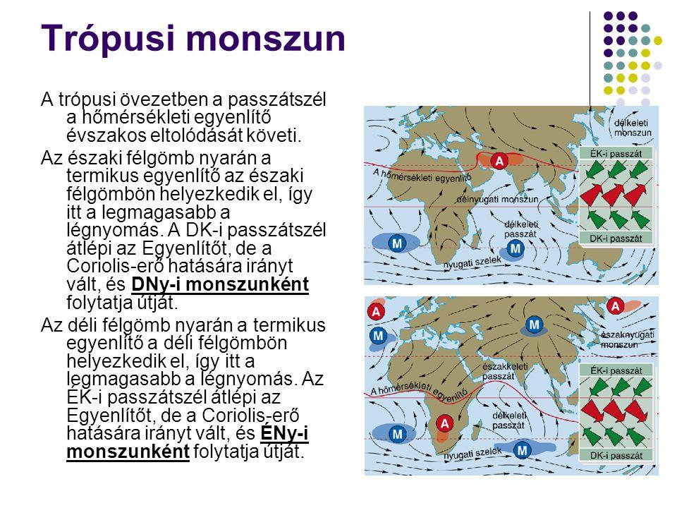 Trópusi monszun A trópusi övezetben a passzátszél a hőmérsékleti egyenlítő évszakos eltolódását követi. Az északi félgömb nyarán a termikus egyenlítő