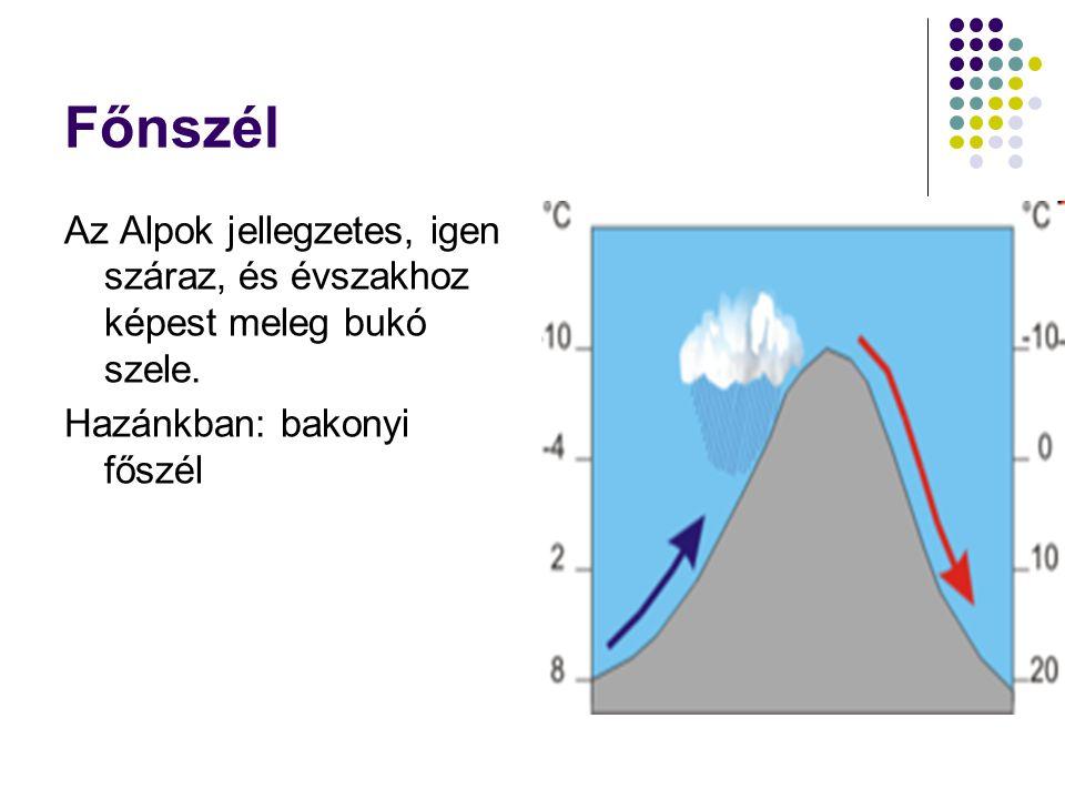 Főnszél Az Alpok jellegzetes, igen száraz, és évszakhoz képest meleg bukó szele. Hazánkban: bakonyi főszél