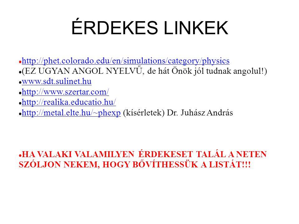 ÉRDEKES LINKEK http://phet.colorado.edu/en/simulations/category/physics (EZ UGYAN ANGOL NYELVŰ, de hát Önök jól tudnak angolul!) www.sdt.sulinet.hu ht
