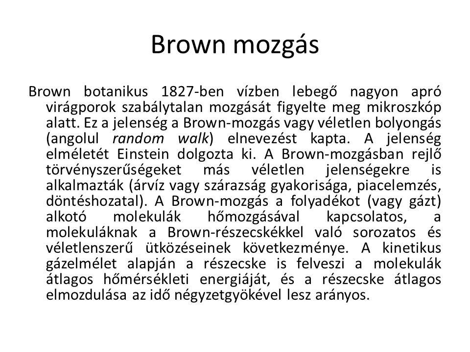 Brown mozgás Brown botanikus 1827-ben vízben lebegő nagyon apró virágporok szabálytalan mozgását figyelte meg mikroszkóp alatt. Ez a jelenség a Brown-