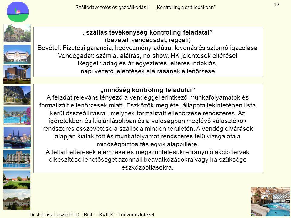 """Szállodavezetés és gazdálkodás II. """"Kontrolling a szállodákban"""" Dr. Juhász László PhD – BGF – KVIFK – Turizmus Intézet 12 """"szállás tevékenység kontrol"""