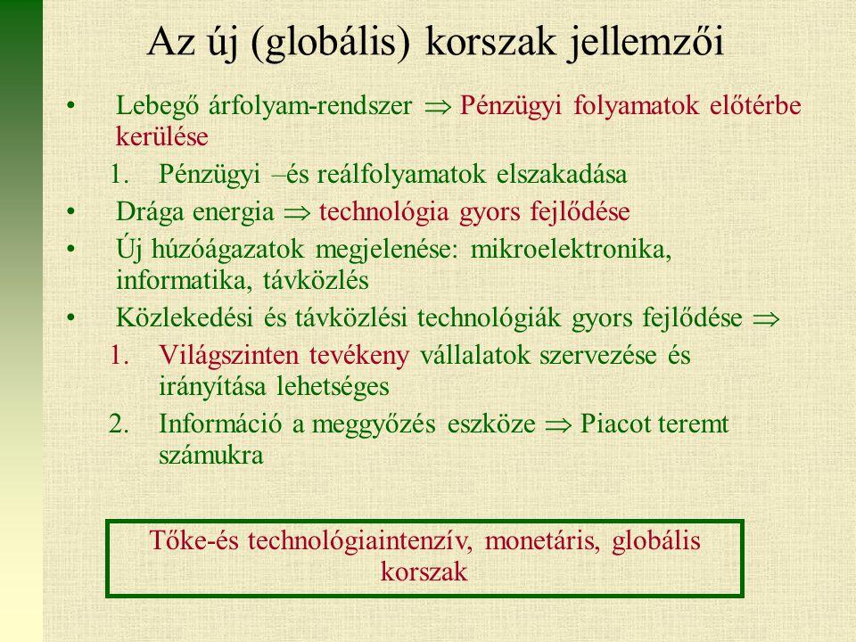 Az új (globális) korszak jellemzői Lebegő árfolyam-rendszer  Pénzügyi folyamatok előtérbe kerülése 1.Pénzügyi –és reálfolyamatok elszakadása Drága energia  technológia gyors fejlődése Új húzóágazatok megjelenése: mikroelektronika, informatika, távközlés Közlekedési és távközlési technológiák gyors fejlődése  1.Világszinten tevékeny vállalatok szervezése és irányítása lehetséges 2.Információ a meggyőzés eszköze  Piacot teremt számukra Tőke-és technológiaintenzív, monetáris, globális korszak