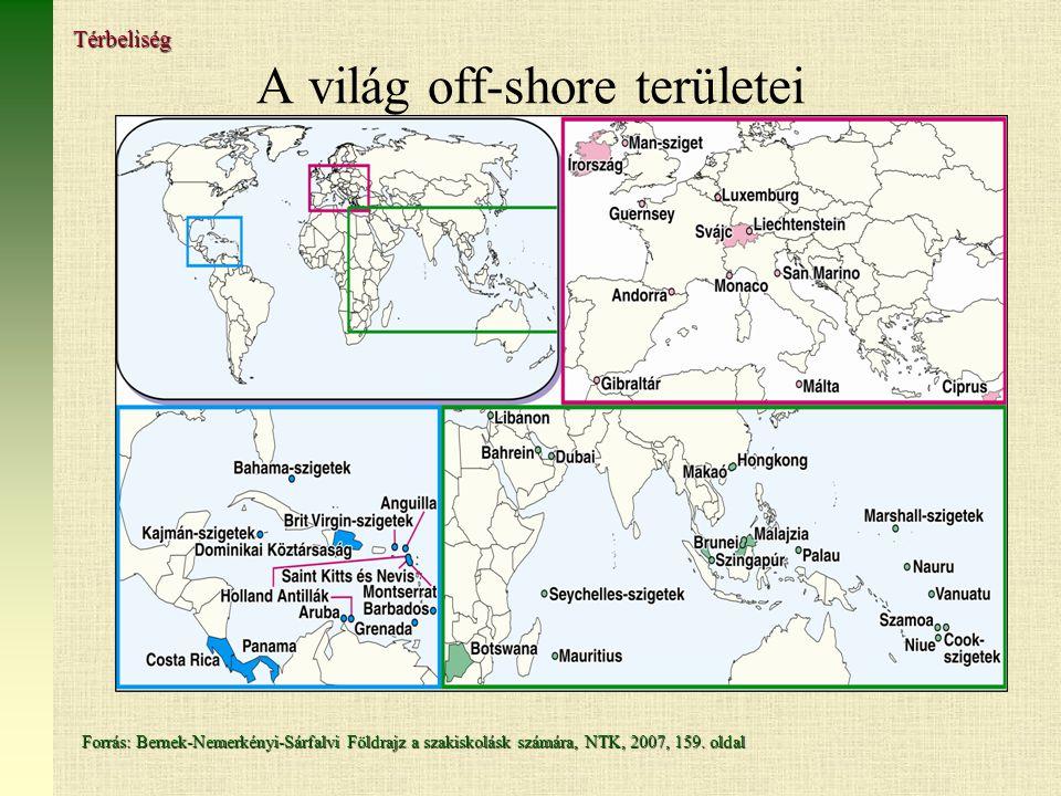 A világ off-shore területei Forrás: Bernek-Nemerkényi-Sárfalvi Földrajz a szakiskolásk számára, NTK, 2007, 159.