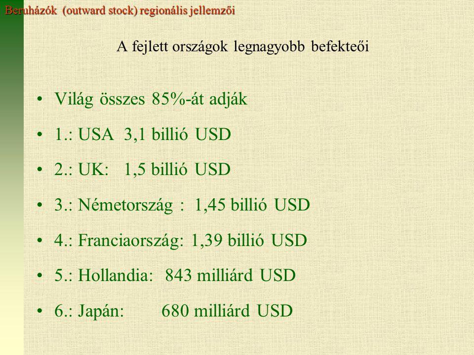 A fejlett országok legnagyobb befekteői Világ összes 85%-át adják 1.: USA 3,1 billió USD 2.: UK: 1,5 billió USD 3.: Németország : 1,45 billió USD 4.: Franciaország: 1,39 billió USD 5.: Hollandia: 843 milliárd USD 6.: Japán: 680 milliárd USD Beruházók (outward stock) regionális jellemzői