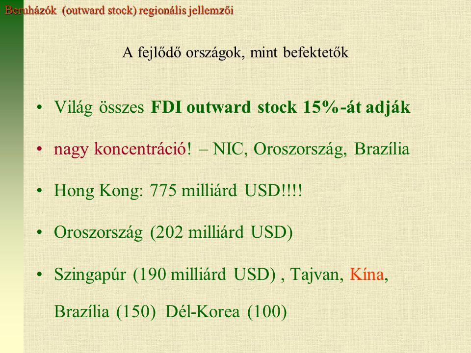 A fejlődő országok, mint befektetők Világ összes FDI outward stock 15%-át adják nagy koncentráció.