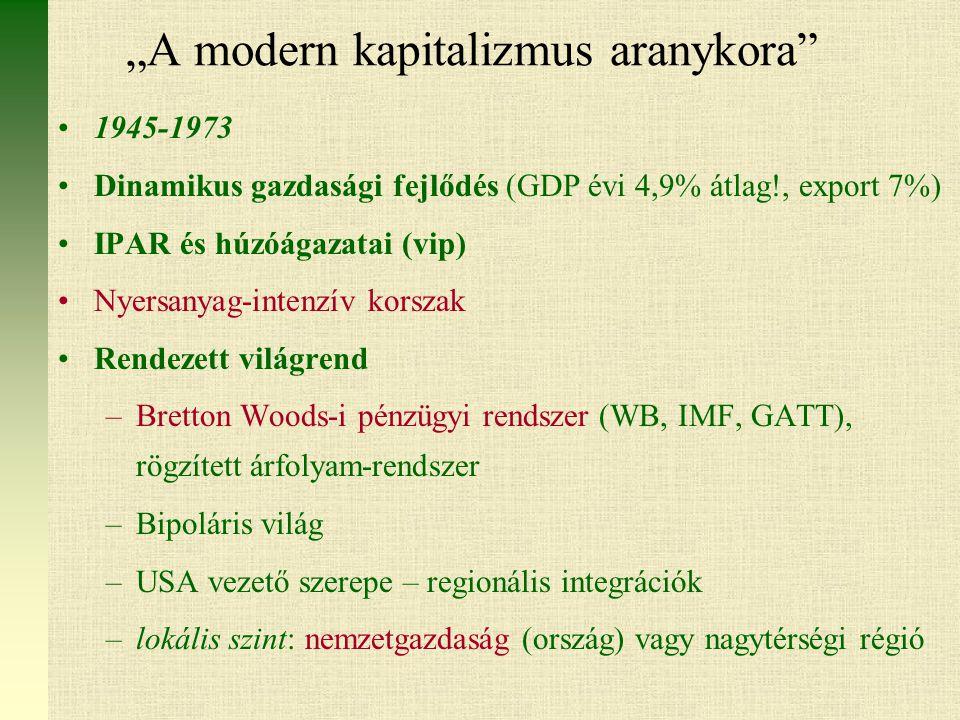"""""""A modern kapitalizmus aranykora 1945-1973 Dinamikus gazdasági fejlődés (GDP évi 4,9% átlag!, export 7%) IPAR és húzóágazatai (vip) Nyersanyag-intenzív korszak Rendezett világrend –Bretton Woods-i pénzügyi rendszer (WB, IMF, GATT), rögzített árfolyam-rendszer –Bipoláris világ –USA vezető szerepe – regionális integrációk –lokális szint: nemzetgazdaság (ország) vagy nagytérségi régió"""