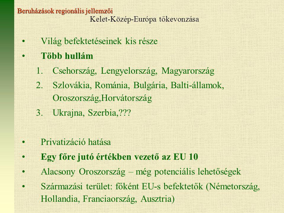 Kelet-Közép-Európa tőkevonzása Világ befektetéseinek kis része Több hullám 1.Csehország, Lengyelország, Magyarország 2.Szlovákia, Románia, Bulgária, Balti-államok, Oroszország,Horvátország 3.Ukrajna, Szerbia,??.