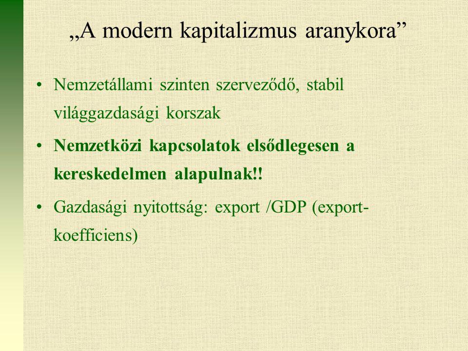 """""""A modern kapitalizmus aranykora Nemzetállami szinten szerveződő, stabil világgazdasági korszak Nemzetközi kapcsolatok elsődlegesen a kereskedelmen alapulnak!."""