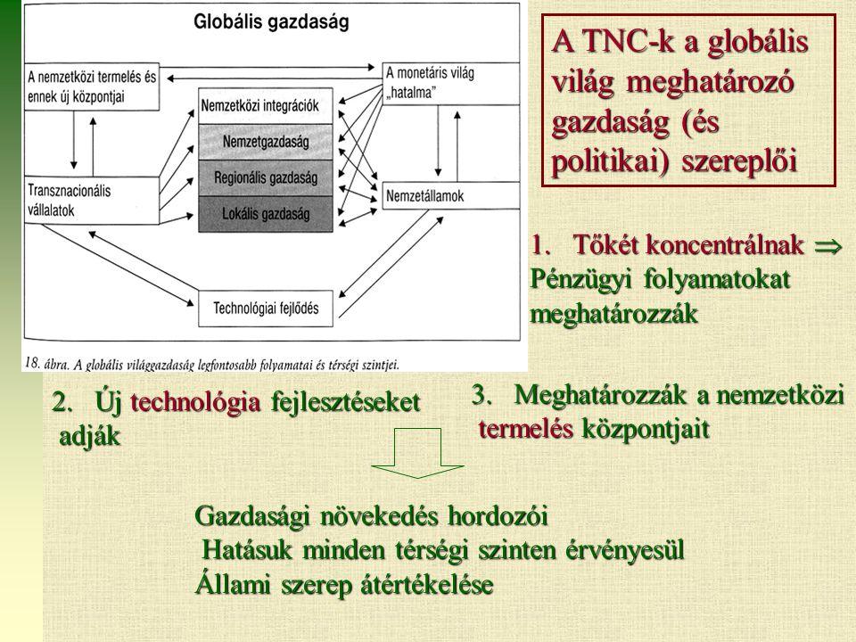 A TNC-k a globális világ meghatározó gazdaság (és politikai) szereplői 3.Meghatározzák a nemzetközi termelés központjait termelés központjait 2.Új technológia fejlesztéseket adják adják Gazdasági növekedés hordozói Hatásuk minden térségi szinten érvényesül Hatásuk minden térségi szinten érvényesül Állami szerep átértékelése 1.Tőkét koncentrálnak  Pénzügyi folyamatokat meghatározzák