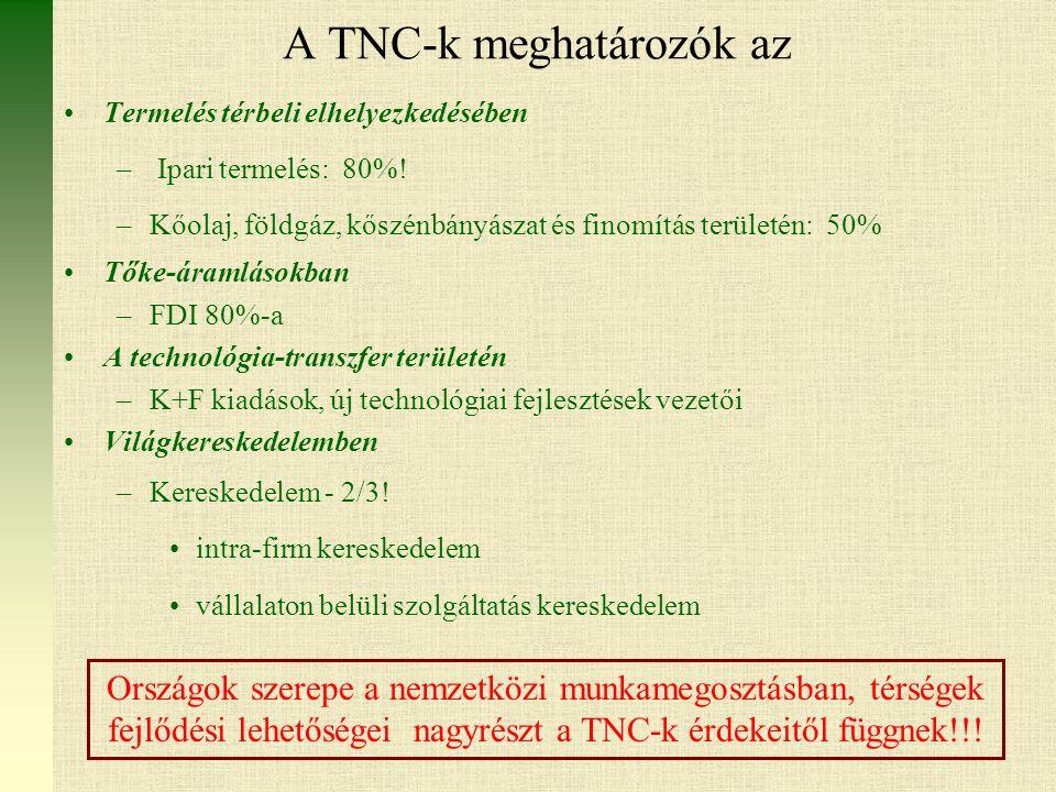 A TNC-k meghatározók az Termelés térbeli elhelyezkedésében – Ipari termelés: 80%.