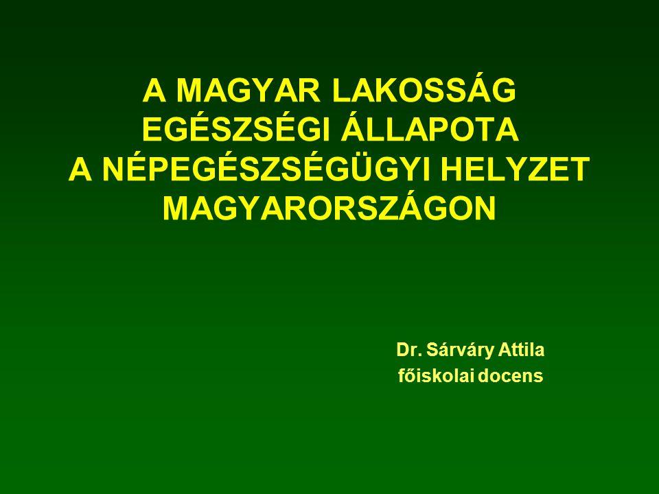 A MAGYAR LAKOSSÁG EGÉSZSÉGI ÁLLAPOTA A NÉPEGÉSZSÉGÜGYI HELYZET MAGYARORSZÁGON Dr. Sárváry Attila főiskolai docens