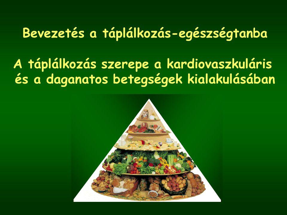 Táplálkozási tényezők és a szív- és érrendszeri betegségek kockázata BizonyítékCsökkenti NincsEmeli a kockázatot összefüggésa kockázatot Meggyőzőtestmozgás E vit.telített zsírsavak linolsav(myristin, palmitinsav) hal, halolaj (EHA, DHA)transz zsírsavak zöldségek, gyümölcsöktúlzott sófogyasztás kálium mérsékelttúlzott alkoholfogy.