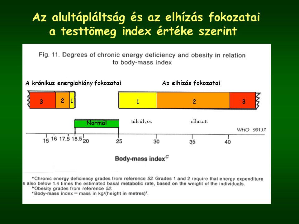 Az alultápláltság és az elhízás fokozatai a testtömeg index értéke szerint Normál Az elhízás fokozataiA krónikus energiahiány fokozatai 3123 12 túlsúlyoselhízott