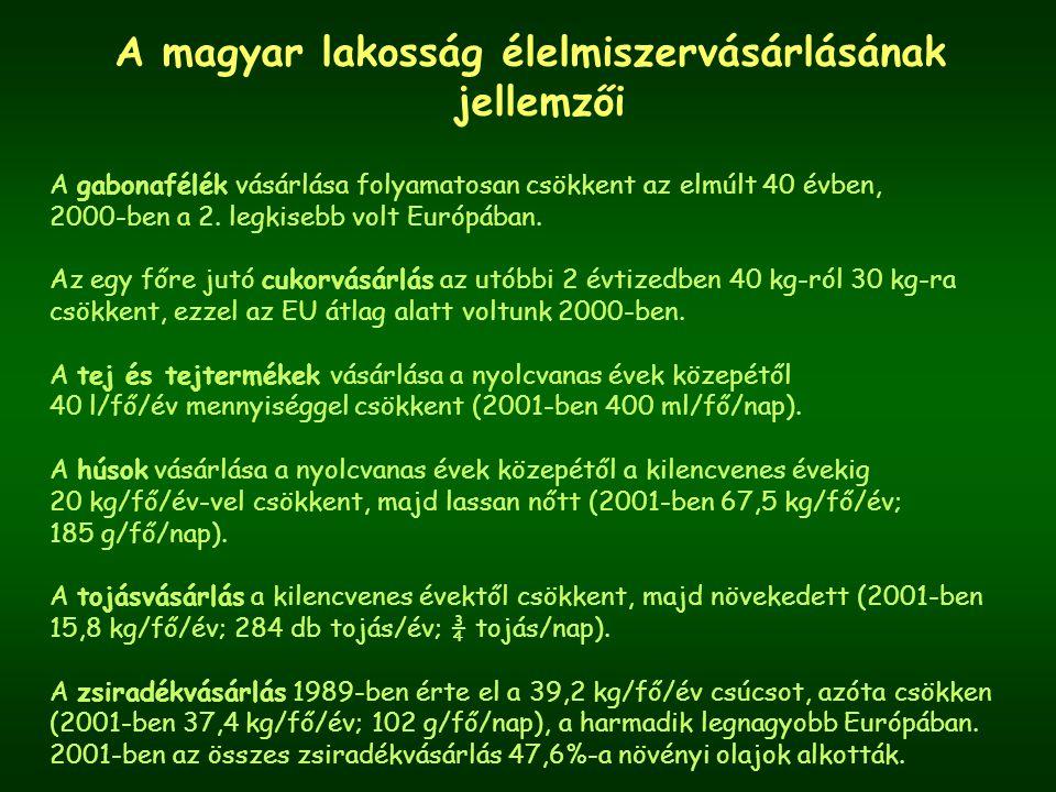 A magyar lakosság élelmiszervásárlásának jellemzői A gabonafélék vásárlása folyamatosan csökkent az elmúlt 40 évben, 2000-ben a 2.