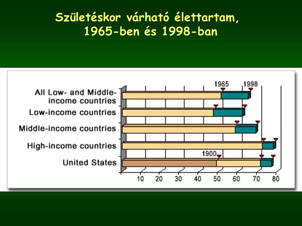 Születéskor várható élettartam, 1965-ben és 1998-ban