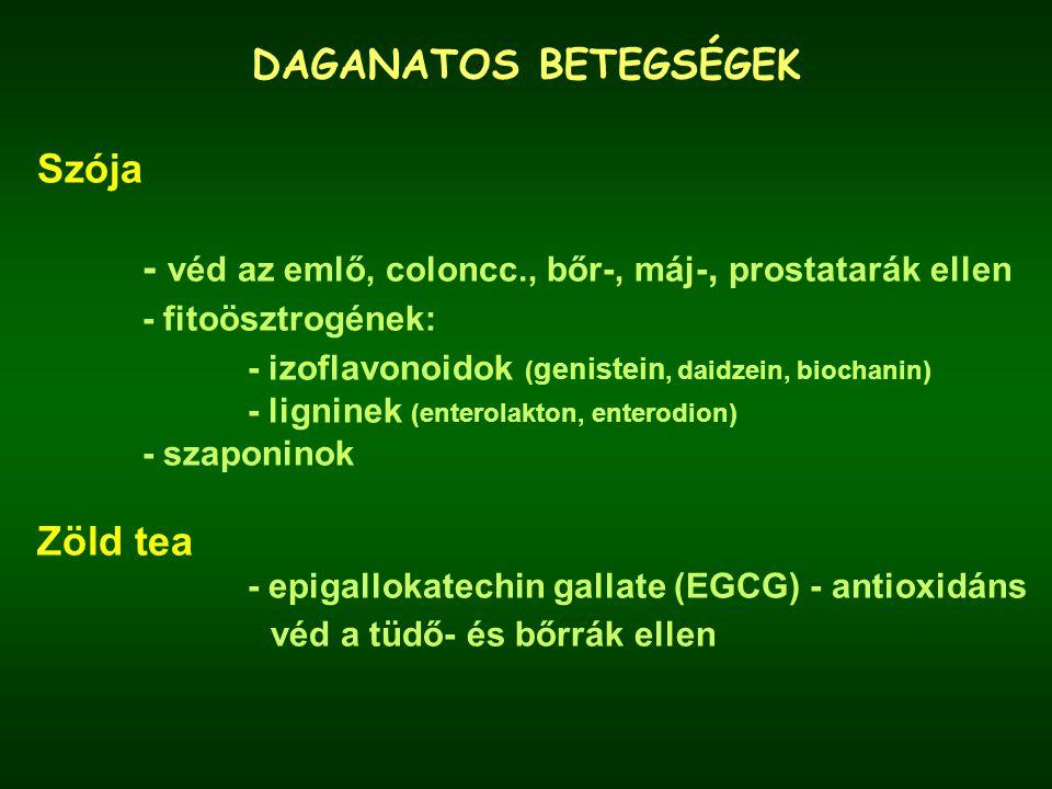 DAGANATOS BETEGSÉGEK Szója - véd az emlő, coloncc., bőr-, máj-, prostatarák ellen - fitoösztrogének: - izoflavonoidok ( genistein, daidzein, biochanin) - ligninek (enterolakton, enterodion) - szaponinok Zöld tea - epigallokatechin gallate (EGCG) - antioxidáns véd a tüdő- és bőrrák ellen