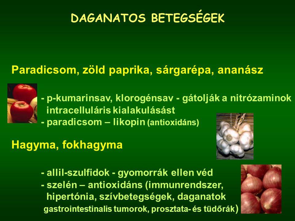 DAGANATOS BETEGSÉGEK Paradicsom, zöld paprika, sárgarépa, ananász - p-kumarinsav, klorogénsav - gátolják a nitrózaminok intracelluláris kialakulásást - paradicsom – likopin (antioxidáns) Hagyma, fokhagyma - allil-szulfidok - gyomorrák ellen véd - szelén – antioxidáns (immunrendszer, hipertónia, szívbetegségek, daganatok gastrointestinalis tumorok, prosztata- és tüdőrák )