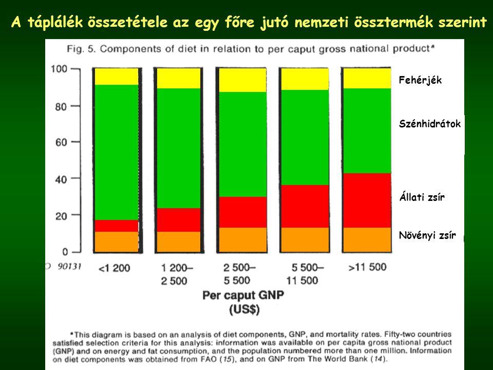Az elhízottak* arányának alakulása Magyarországon táplálkozási vizsgálatok alapján férfiaknőkegyütt 1985-88 OÉTI 1 58%62%- 1992-94 OÉTI 1 63%49%55% 1994 KSH 2 46%40%43% Egészségmagatartás vizsgálat 1997 Szonda Ipsos 2 --39% (Szívbarát program) OLEF 2000 2 57%47%51% *BMI>25 kg/m 2 1 mérés, 2 önbevallás