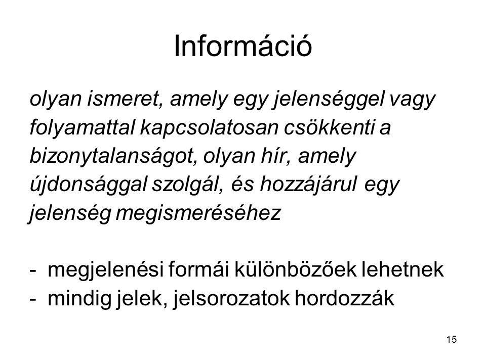 15 Információ olyan ismeret, amely egy jelenséggel vagy folyamattal kapcsolatosan csökkenti a bizonytalanságot, olyan hír, amely újdonsággal szolgál,