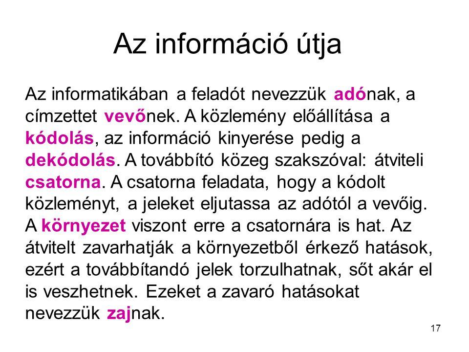 17 Az információ útja Az informatikában a feladót nevezzük adónak, a címzettet vevőnek. A közlemény előállítása a kódolás, az információ kinyerése ped
