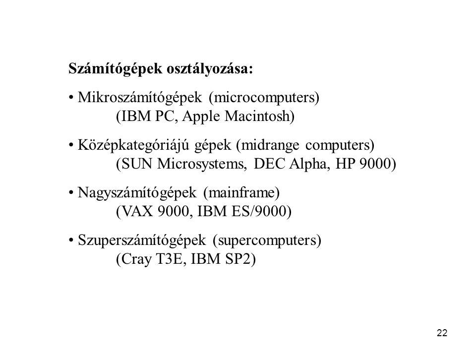 22 Számítógépek osztályozása: Mikroszámítógépek (microcomputers) (IBM PC, Apple Macintosh) Középkategóriájú gépek (midrange computers) (SUN Microsyste