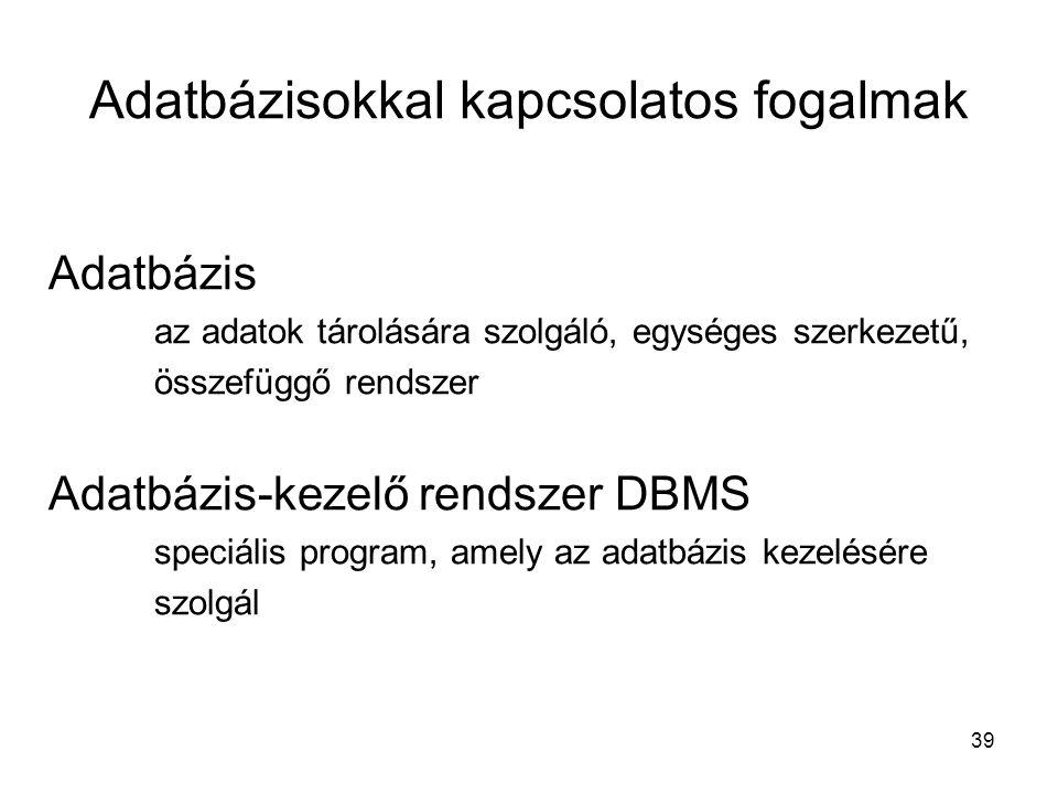 39 Adatbázisokkal kapcsolatos fogalmak Adatbázis az adatok tárolására szolgáló, egységes szerkezetű, összefüggő rendszer Adatbázis-kezelő rendszer DBM
