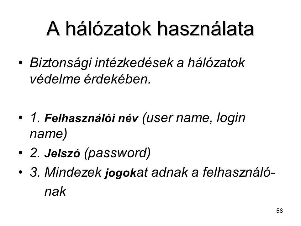 58 A hálózatok használata Biztonsági intézkedések a hálózatok védelme érdekében. 1. Felhasználói név (user name, login name) 2. Jelszó (password) 3. M