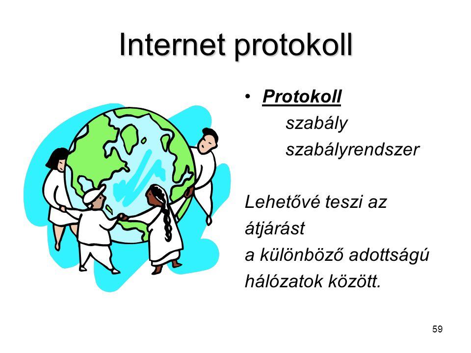 59 Internet protokoll Protokoll szabály szabályrendszer Lehetővé teszi az átjárást a különböző adottságú hálózatok között.