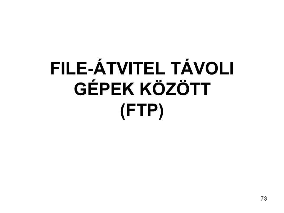 73 FILE-ÁTVITEL TÁVOLI GÉPEK KÖZÖTT (FTP)