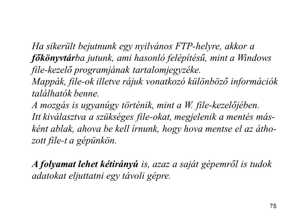 75 Ha sikerült bejutnunk egy nyilvános FTP-helyre, akkor a főkönyvtárba jutunk, ami hasonló felépítésű, mint a Windows file-kezelő programjának tartal