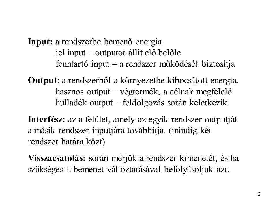 9 Input: a rendszerbe bemenő energia. jel input – outputot állit elő belőle fenntartó input – a rendszer működését biztosítja Output: a rendszerből a
