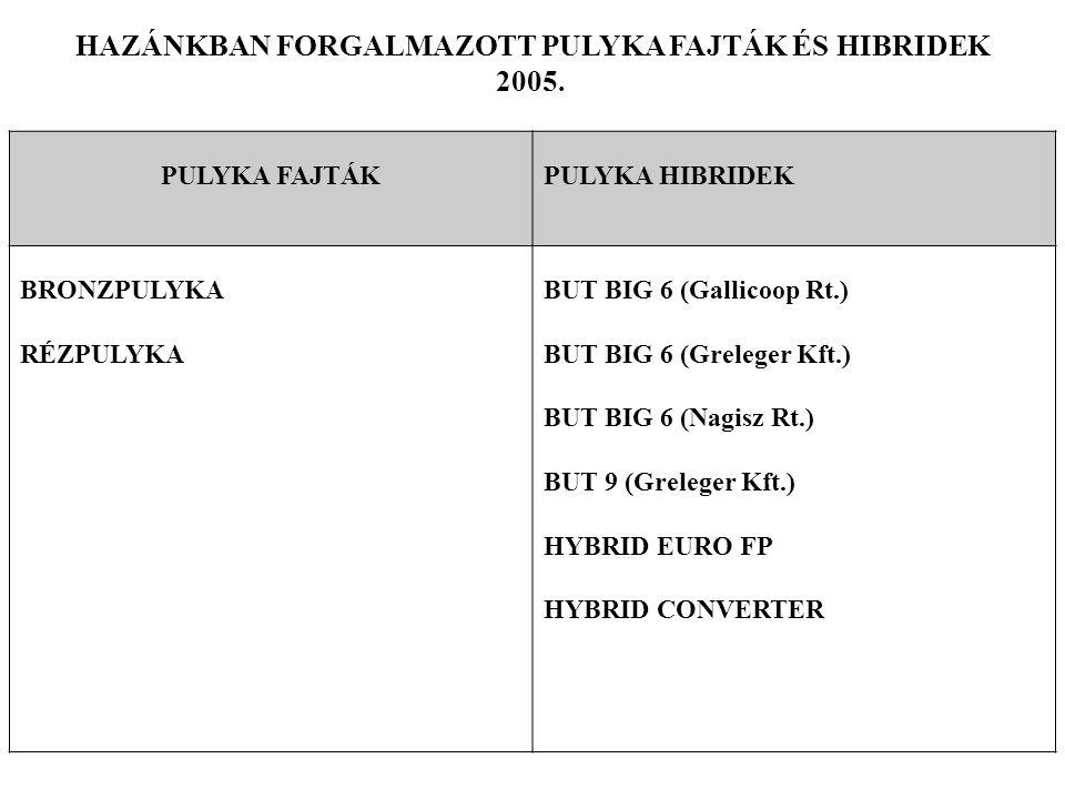 HAZÁNKBAN FORGALMAZOTT PULYKA FAJTÁK ÉS HIBRIDEK 2005. PULYKA FAJTÁKPULYKA HIBRIDEK BRONZPULYKA RÉZPULYKA BUT BIG 6 (Gallicoop Rt.) BUT BIG 6 (Grelege