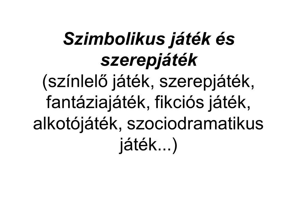 Szimbolikus játék és szerepjáték (színlelő játék, szerepjáték, fantáziajáték, fikciós játék, alkotójáték, szociodramatikus játék...)