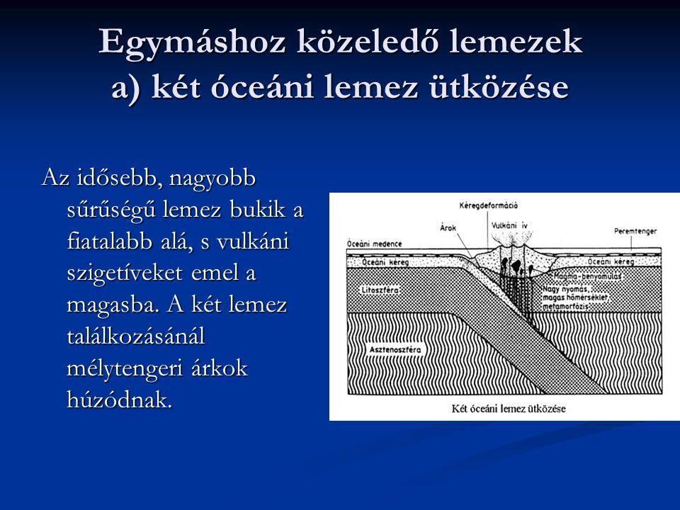 Egymáshoz közeledő lemezek a) két óceáni lemez ütközése Az idősebb, nagyobb sűrűségű lemez bukik a fiatalabb alá, s vulkáni szigetíveket emel a magasb