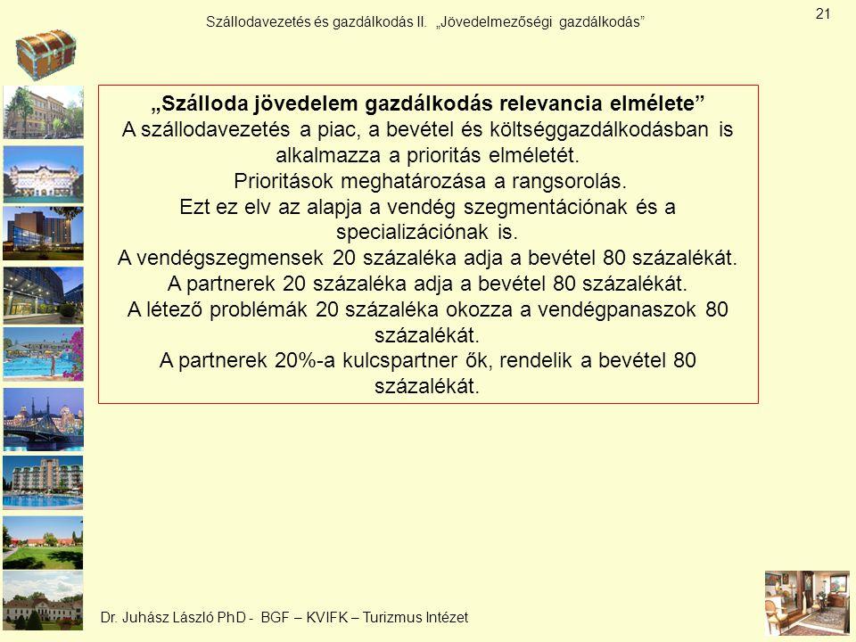 """Szállodavezetés és gazdálkodás II. """"Jövedelmezőségi gazdálkodás"""" Dr. Juhász László PhD - BGF – KVIFK – Turizmus Intézet """"Szálloda jövedelem gazdálkodá"""