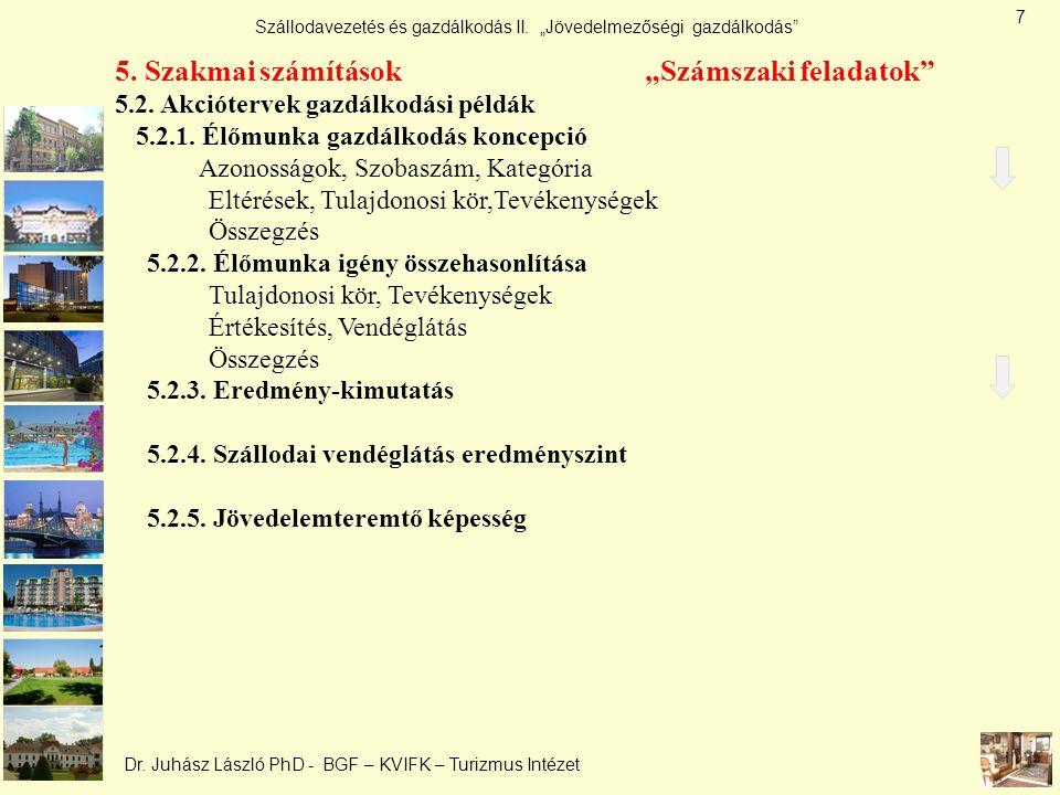 """Szállodavezetés és gazdálkodás II. """"Jövedelmezőségi gazdálkodás"""" Dr. Juhász László PhD - BGF – KVIFK – Turizmus Intézet 5. Szakmai számítások """"Számsza"""