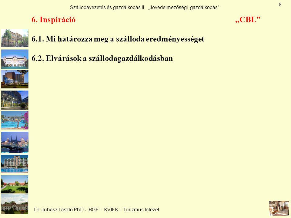"""Szállodavezetés és gazdálkodás II. """"Jövedelmezőségi gazdálkodás"""" Dr. Juhász László PhD - BGF – KVIFK – Turizmus Intézet 6. Inspiráció """"CBL"""" 6.1. Mi ha"""
