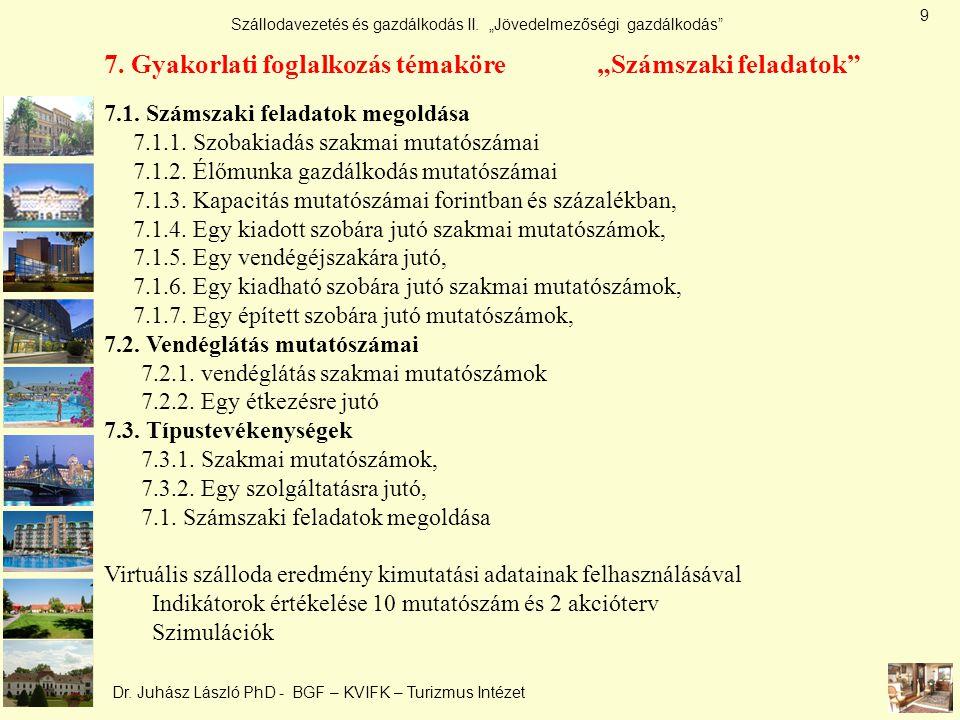 """Szállodavezetés és gazdálkodás II. """"Jövedelmezőségi gazdálkodás"""" Dr. Juhász László PhD - BGF – KVIFK – Turizmus Intézet 7. Gyakorlati foglalkozás téma"""