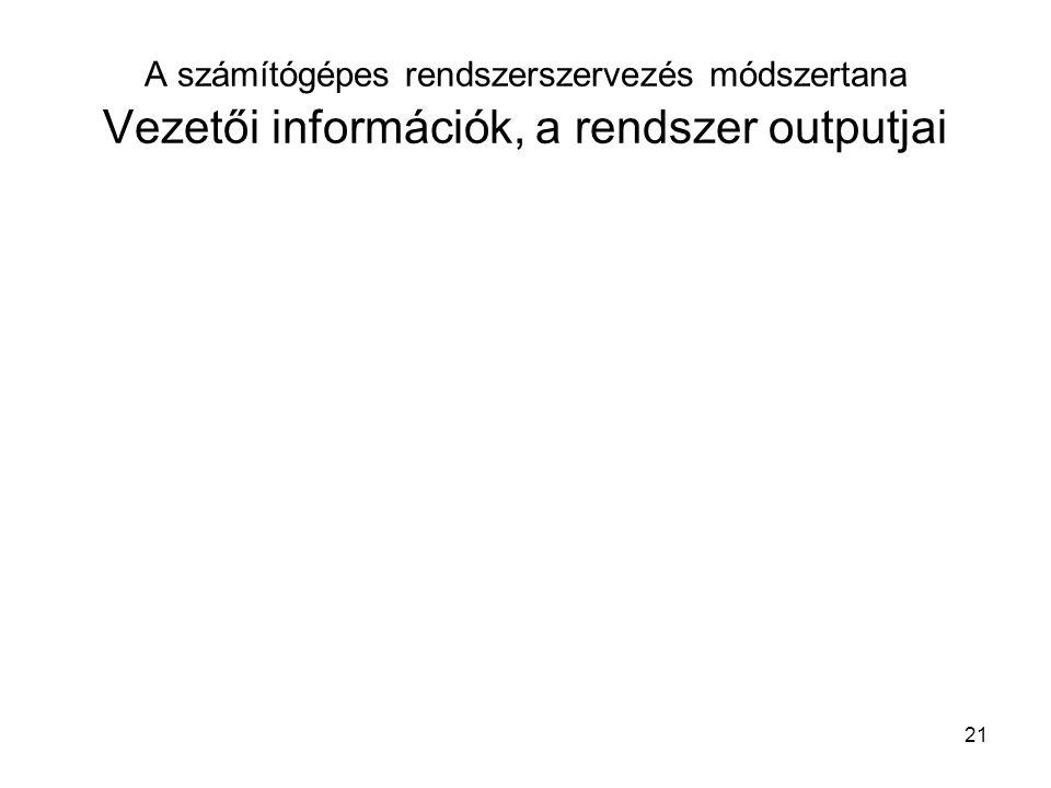 21 A számítógépes rendszerszervezés módszertana Vezetői információk, a rendszer outputjai