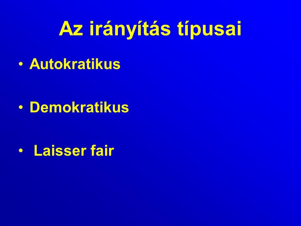 Az irányítás típusai Autokratikus Demokratikus Laisser fair