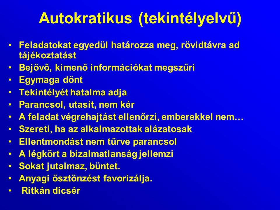 Autokratikus (tekintélyelvű) Feladatokat egyedül határozza meg, rövidtávra ad tájékoztatást Bejövő, kimenő információkat megszűri Egymaga dönt Tekinté