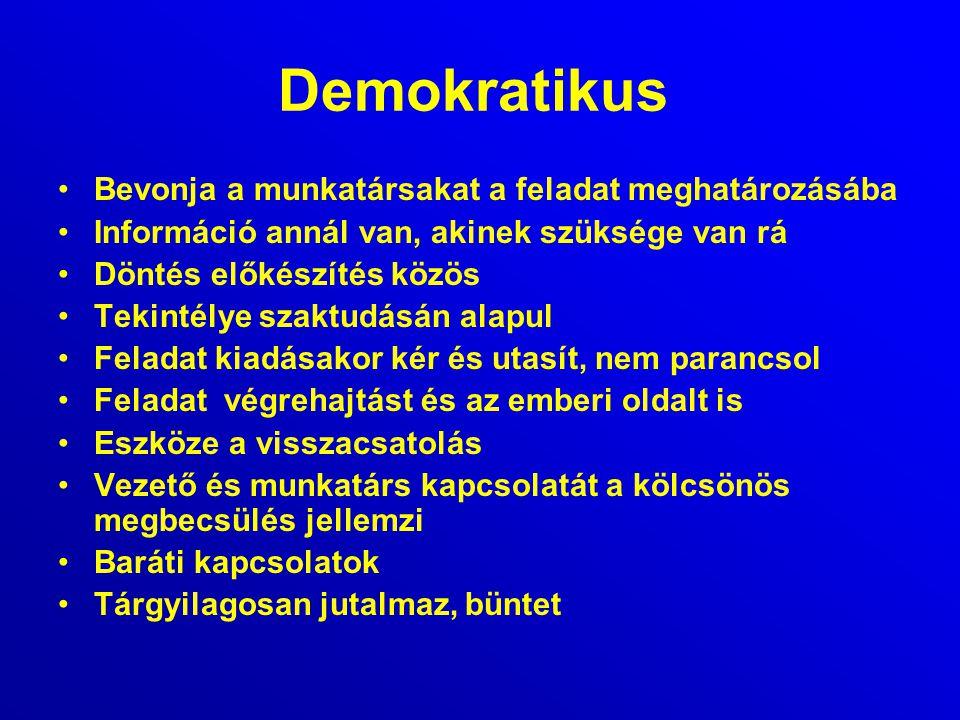 Demokratikus Bevonja a munkatársakat a feladat meghatározásába Információ annál van, akinek szüksége van rá Döntés előkészítés közös Tekintélye szaktu