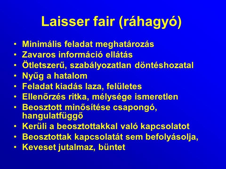 Laisser fair (ráhagyó) Minimális feladat meghatározás Zavaros információ ellátás Ötletszerű, szabályozatlan döntéshozatal Nyűg a hatalom Feladat kiadá